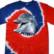 Mens Dolphin Shirt Big Dolphin Face Patriotic Tie Dye Tee T-shirt