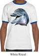 Mens Dolphin Shirt Big Dolphin Face Ringer Tee T-Shirt