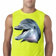 Mens Dolphin Shirt Big Dolphin Face Sleeveless Tee T-Shirt