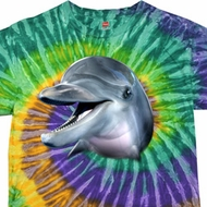Mens Dolphin Shirt Big Dolphin Face Tie Dye T-shirt