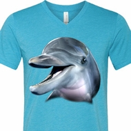 Mens Dolphin Shirt Big Dolphin Face Tri Blend V-neck Tee T-Shirt