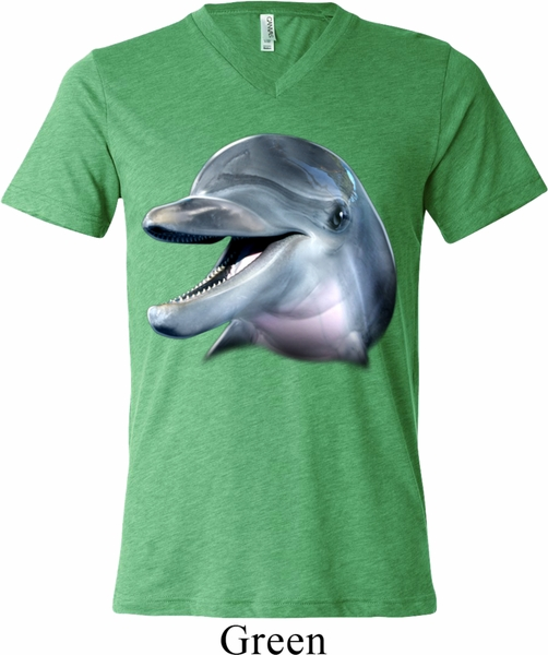 Mens dolphin shirt big dolphin face tri blend v neck tee t for Large v neck t shirts