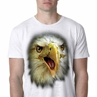 Mens Eagle Shirt Big Eagle Face Burnout T-Shirt
