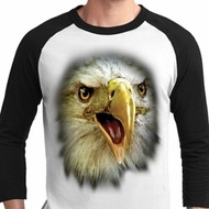 Mens Eagle Shirt Big Eagle Face Raglan Tee T-Shirt
