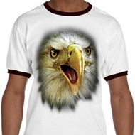 Mens Eagle Shirt Big Eagle Face Ringer Tee T-Shirt