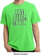 Mens Fitness Shirt Eat Sleep Train Pigment Dyed Tee T-Shirt