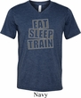 Mens Fitness Shirt Eat Sleep Train Tri Blend V-neck Tee