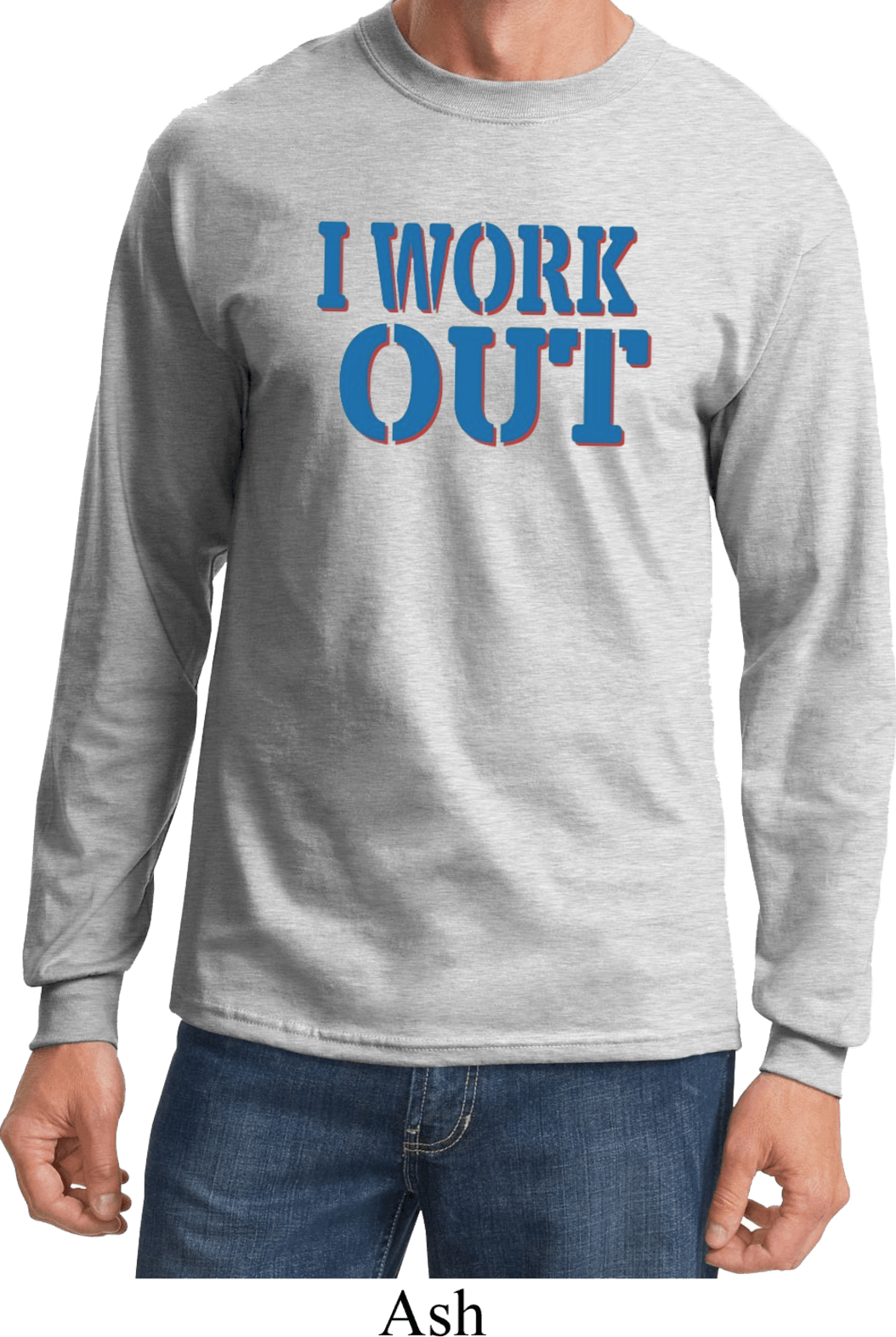 Mens Fitness Shirt I Work Out Long Sleeve Tee T Shirt I