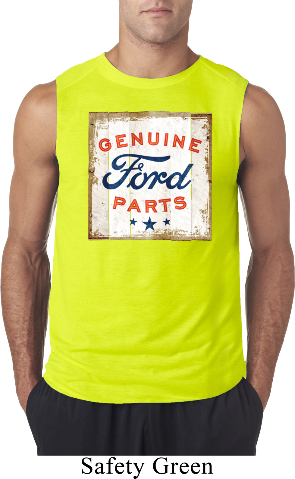 Mens Ford Shirt Distressed Genuine Ford Parts Sleeveless
