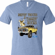 Mens Ford Shirt Driving and Tagging Bucks Tri Blend V-neck Shirt