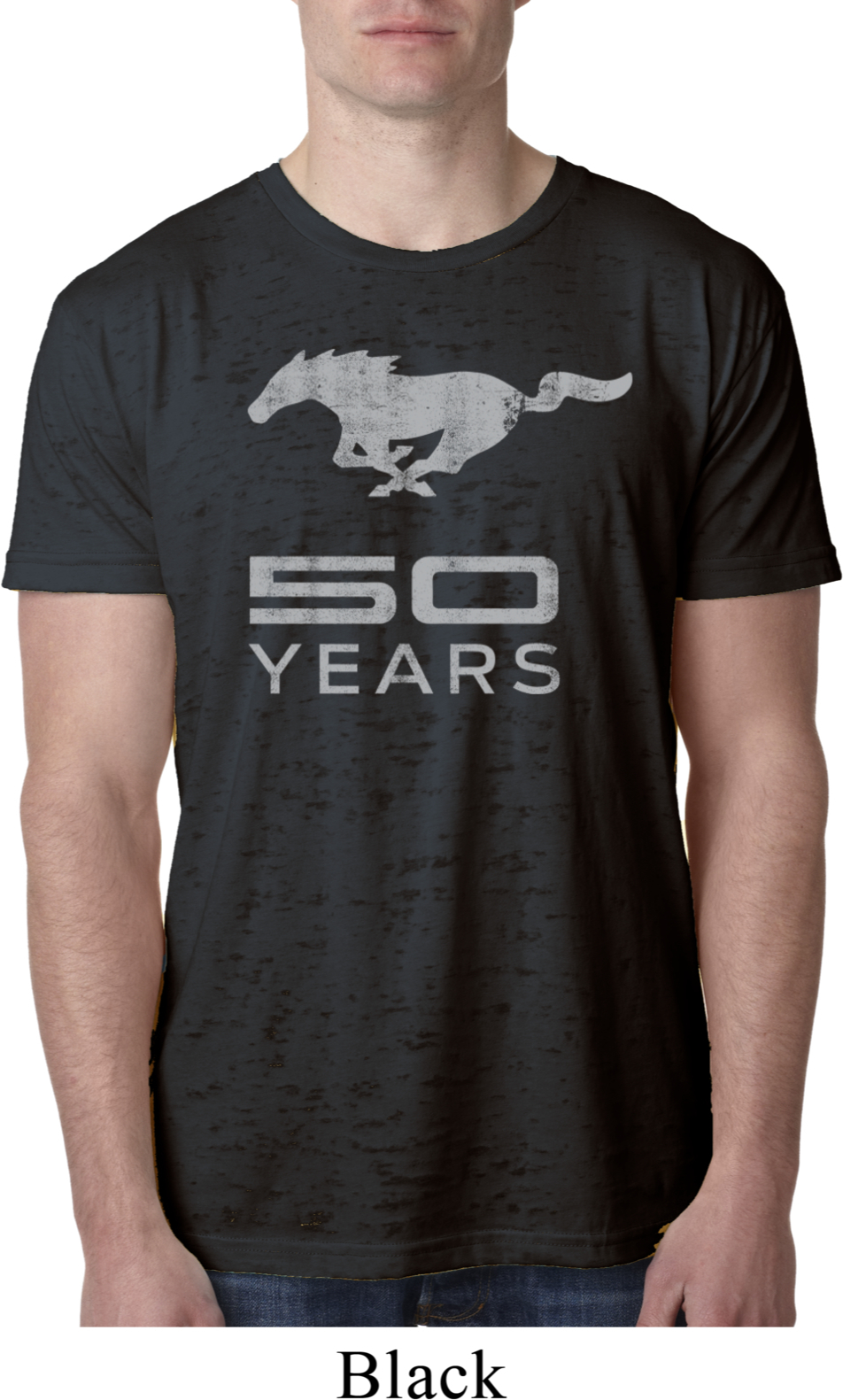 mens ford shirt mustang 50 years burnout tee t shirt mustang 50 years mens ford mustang shirts. Black Bedroom Furniture Sets. Home Design Ideas