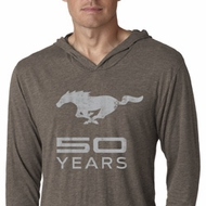 Mens Ford Shirt Mustang 50 Years Lightweight Hoodie Tee T-Shirt