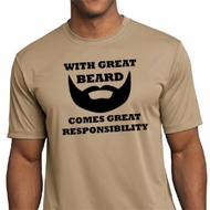 Mens Funny Shirt Great Beard Great Responsibility Moisture Wicking Tee