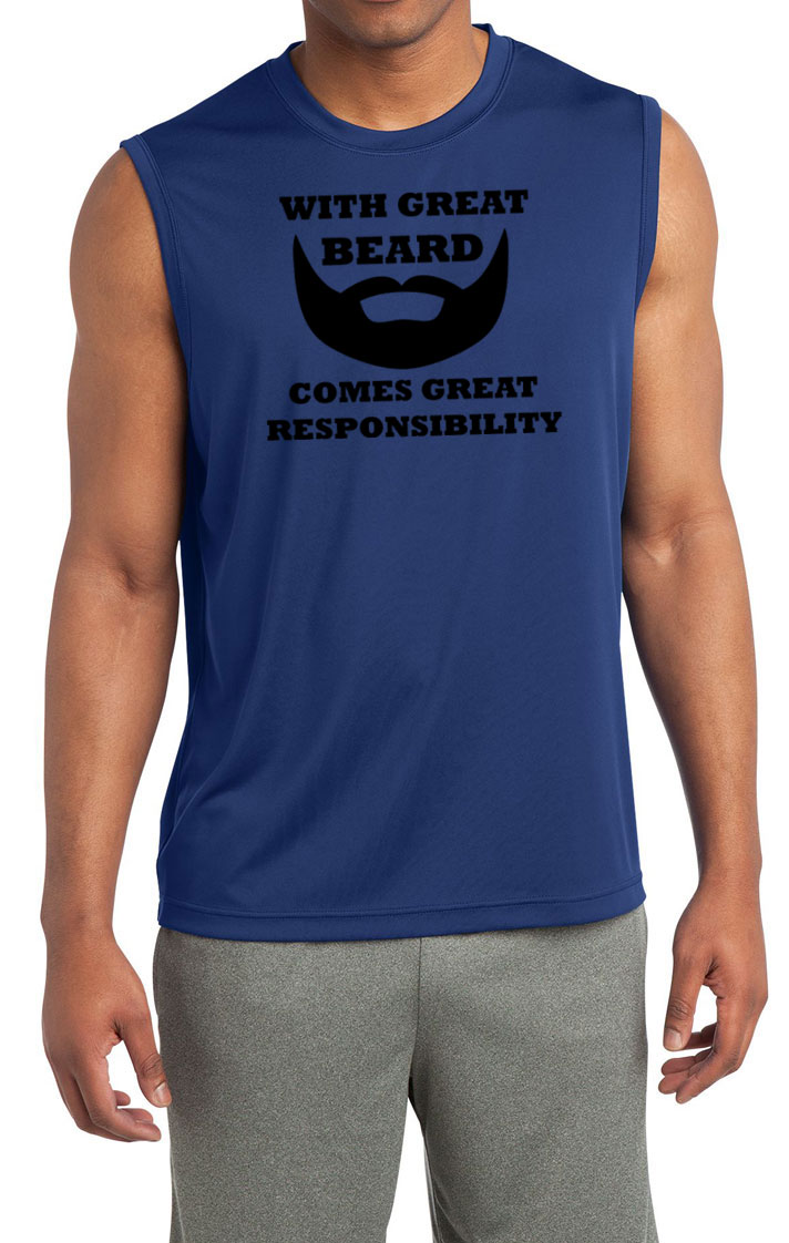Mens funny shirt great beard sleeveless moisture wicking for Great shirts for guys