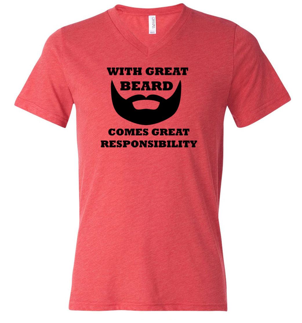 Mens funny shirt great beard tri blend v neck tee t shirt for Great shirts for guys