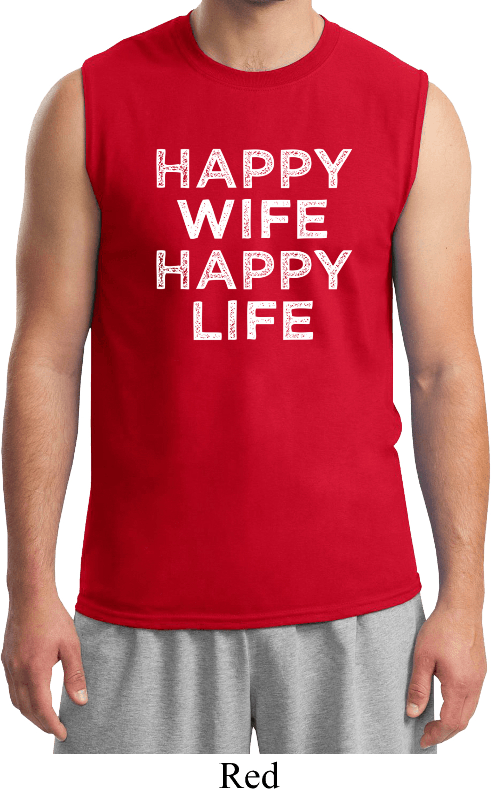Mens funny shirt happy wife happy life muscle tee t shirt for Tahari t shirt mens