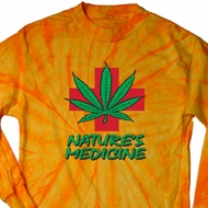 Mens Funny Shirt Natures Medicine Long Sleeve Tie Dye Tee T-shirt