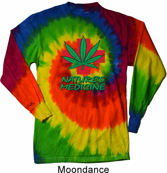 Mens funny shirt natures medicine long sleeve tie dye tee for Tie dye mens t shirts