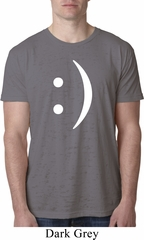 Mens Funny Shirt Smiley Chat Face Burnout Tee T-Shirt