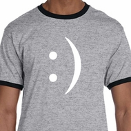 Mens Funny Shirt Smiley Chat Face Ringer Tee T-Shirt