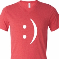 Mens Funny Shirt Smiley Chat Face Tri Blend V-neck Tee T-Shirt