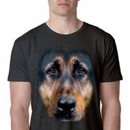Mens German Shepherd Shirt Big German Shepherd Face Burnout T-Shirt