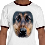 Mens German Shepherd Shirt Big German Shepherd Face Ringer Tee T-Shirt
