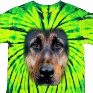 Mens German Shepherd Shirt Big German Shepherd Face Tie Dye T-shirt