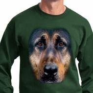 Mens German Shepherd Sweatshirt Big German Shepherd Face Sweat Shirt