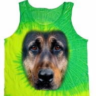 Mens German Shepherd Tanktop Big German Shepherd Face Tie Dye Tank Top