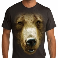 Mens Grizzly Bear Shirt Big Grizzly Bear Face Organic T-Shirt