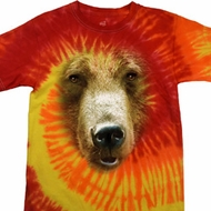 Mens Grizzly Bear Shirt Big Grizzly Bear Face Tie Dye T-shirt
