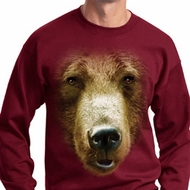Mens Grizzly Bear Sweatshirt Big Grizzly Bear Face Sweat Shirt