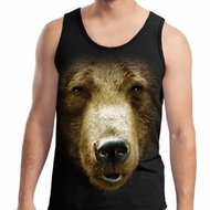 Mens Grizzly Bear Tanktop Big Grizzly Bear Face Tank Top