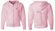 Mens Hoodie Pink Ribbon For My Daughter Front & Back Full Zip Hoody