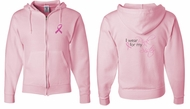 Mens Hoodie Pink Ribbon For My Sister Front & Back Full Zip Hoody