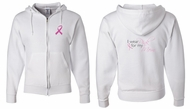 Mens Hoodie Pink Ribbon Pink For My Mom Front & Back Full Zip Hoody
