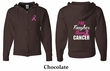 Mens Hoodie Pink Ribbon Tougher Front & Back Full Zip Hoody