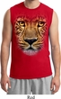 Mens Leopard Shirt Big Leopard Face Muscle Tee T-Shirt