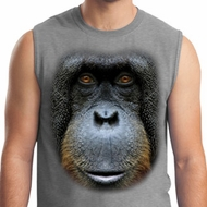 Mens Orangutan Shirt Big Orangutan Face Muscle Tee T-Shirt