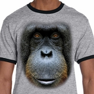 Mens Orangutan Shirt Big Orangutan Face Ringer Tee T-Shirt