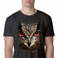 Mens Owl Shirt Big Owl Face Burnout T-Shirt