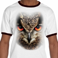 Mens Owl Shirt Big Owl Face Ringer Tee T-Shirt
