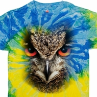Mens Owl Shirt Big Owl Face Tie Dye T-shirt