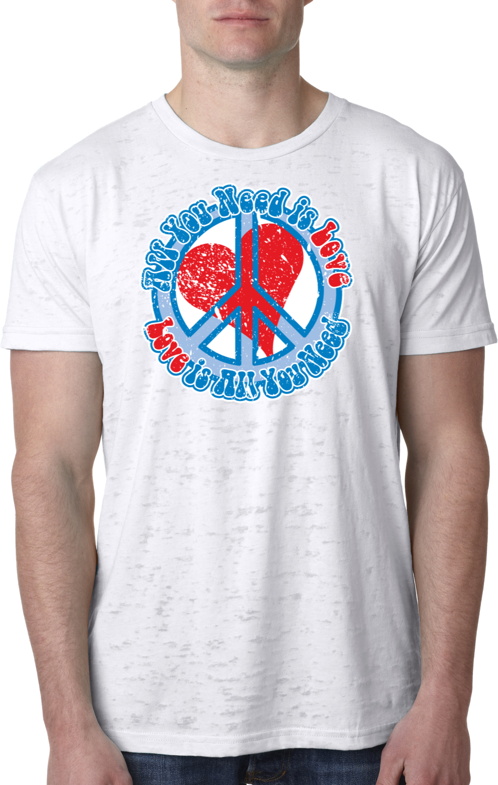 Mens peace shirt all you need is love burnout tee t shirt for Buy mens t shirts