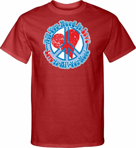 Mens Peace Shirt All You Need Is Love Tall Tee T Shirt