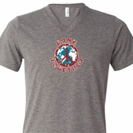 Mens Peace Shirt Come Together Tri Blend V-neck Tee T-Shirt