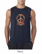 Mens Peace Shirt Funky Peace Sleeveless Tee T-Shirt