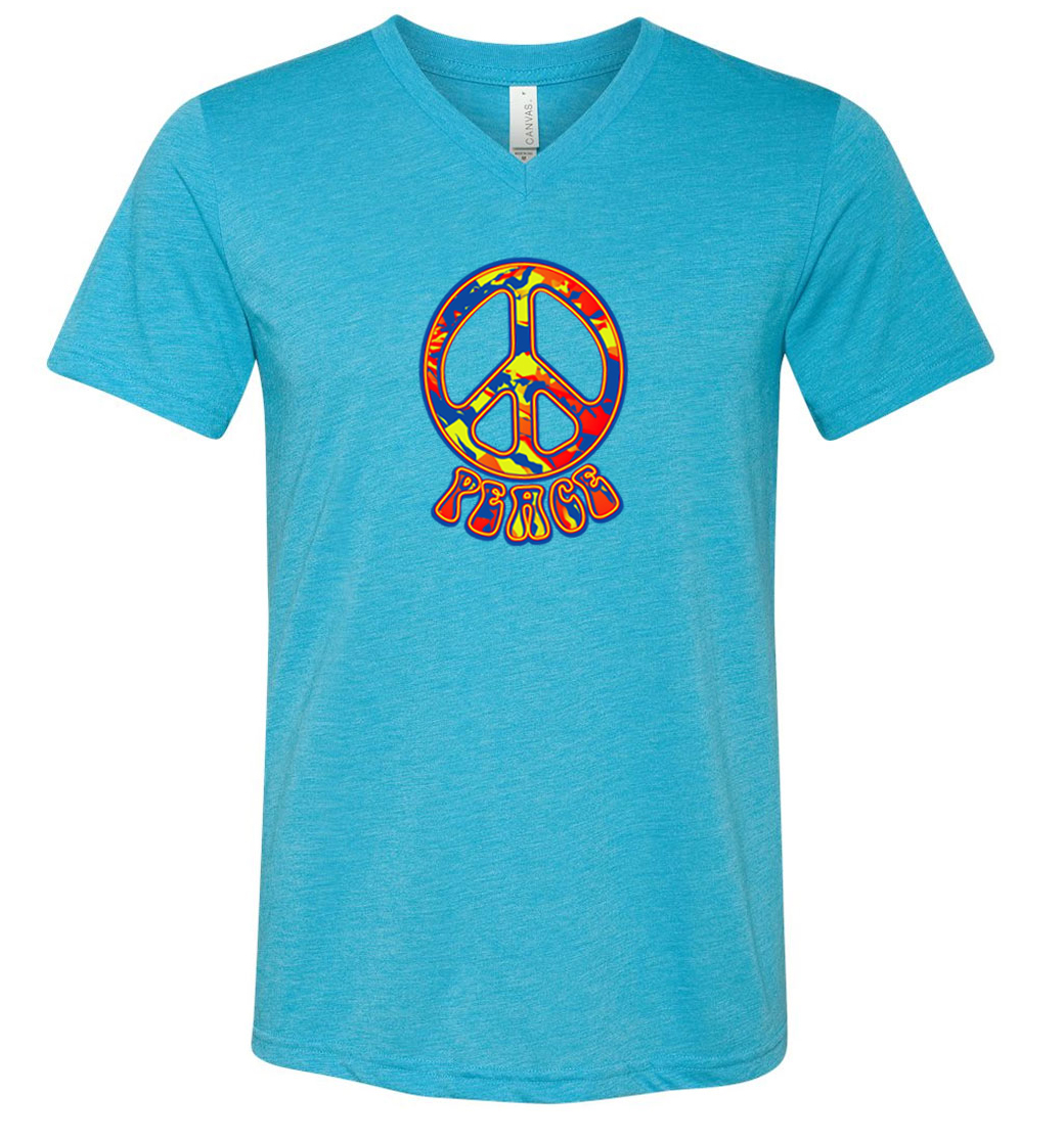Mens peace shirt funky peace tri blend v neck tee t shirt for Funky t shirts online