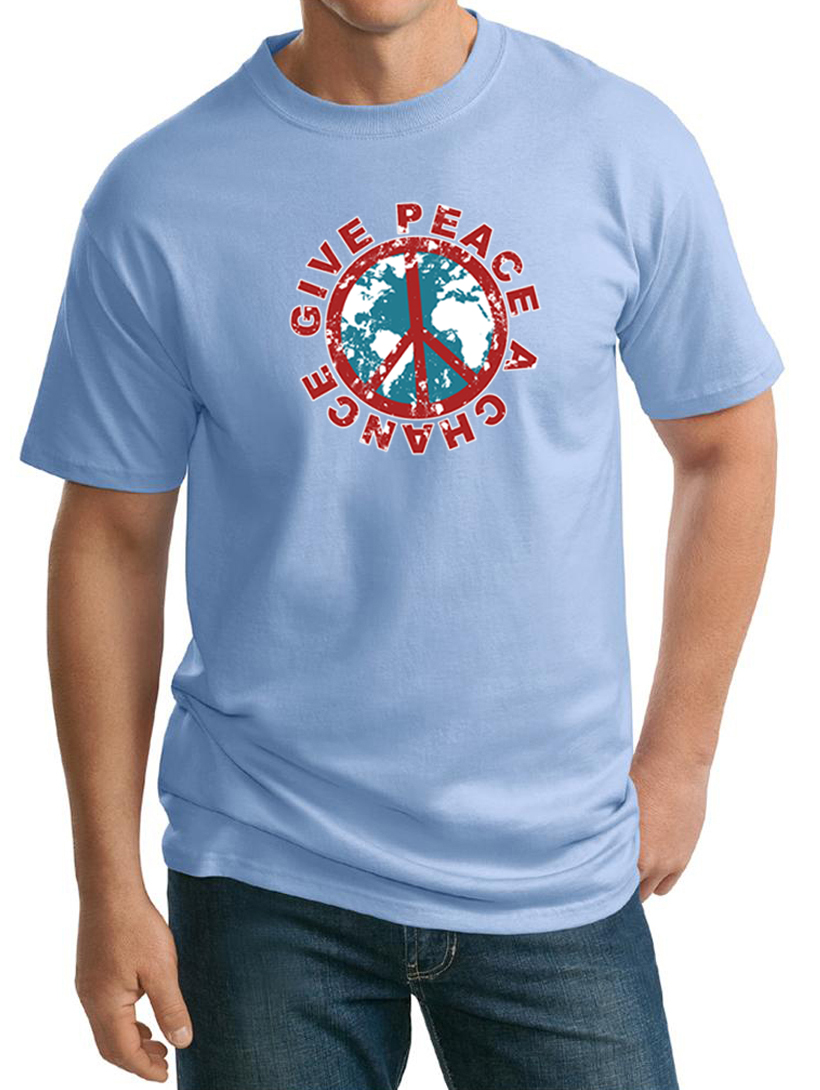 Mens peace shirt give peace a chance tall tee t shirt for T shirt for tall man